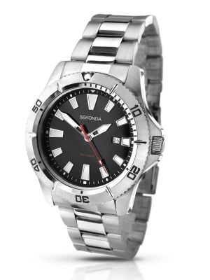 Sekonda Stainless Steel Gents watch with black dial