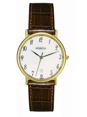 Michel Herbelin Gents Gold plated Sonates Strap Watch