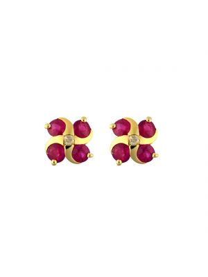 9ct yellow gold ruby and diamond swirl stud earrings