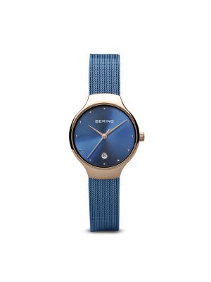 Bering Ladies rose gold & blue milanese strap watch
