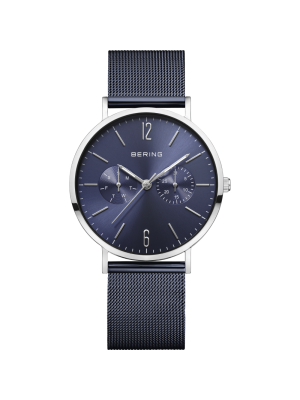 Bering Gents stainless steel and blue milanese strap watch with blue dial
