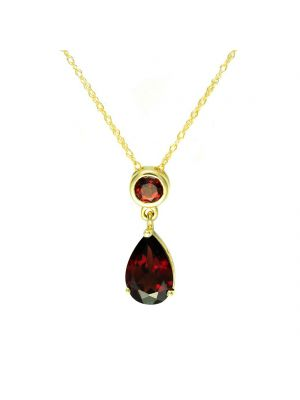 9ct yellow gold garnet pear shape pendant and chain