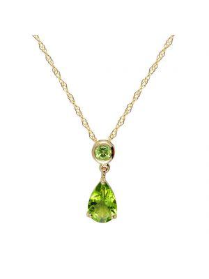 9ct yellow gold peridot pendant and chain