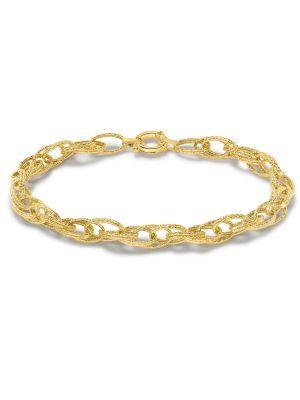 9ct  Yellow Gold Textured Double Oval Belcher Bracelet