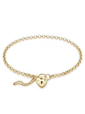 9ct  Yellow Gold Padlock Belcher Link Bracelet
