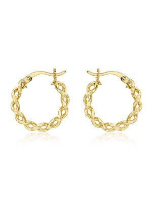 9ct Diamond Cut Twist Creole Hoop Earrings