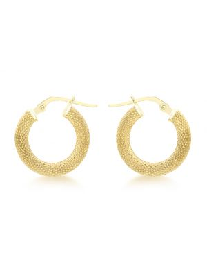 9ct Yellow Gold Diamond Cut Edge Hoop Earring