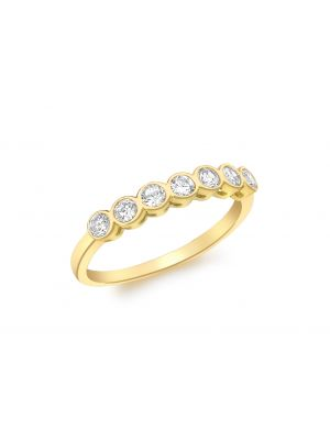 9ct Yellow Gold Cubic Zirconia Seven Stone Ring