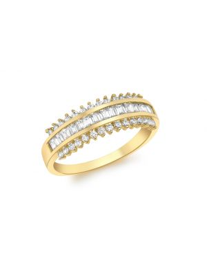 9ct Yellow Gold CZ Track Ring
