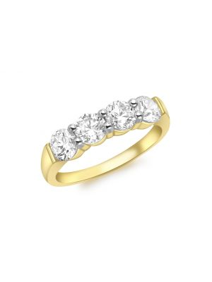 9ct Yellow Gold 4 CZ Band Ring
