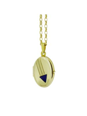 9ct yellow gold locket with lapis stone