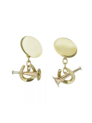 9ct yellow gold horseshoe & horn cufflinks