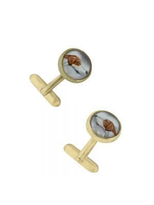 9ct yellow gold beagle cufflinks
