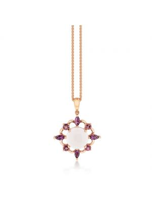 9ct rose gold rose quartz pendant with amethyst surround with chain