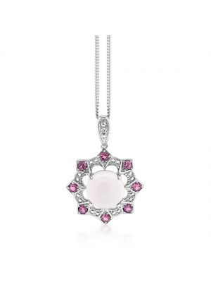 9ct white gold rose quartz diamond and ruby surround pendant and chain