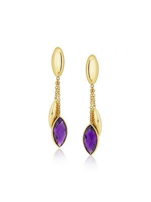 9ct yellow gold amethyst drop earrings