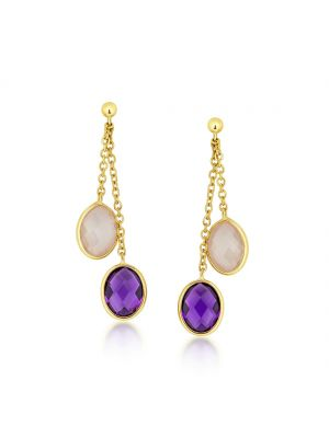 9ct yellow gold drop amethyst and rose quartz drop earrings