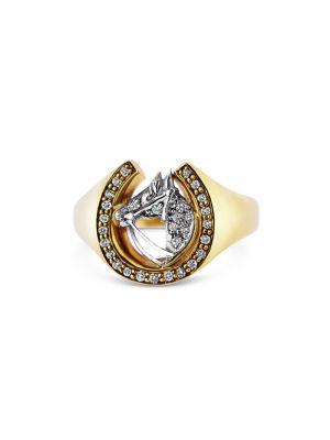 18ct yellow gold diamond set horses head ring