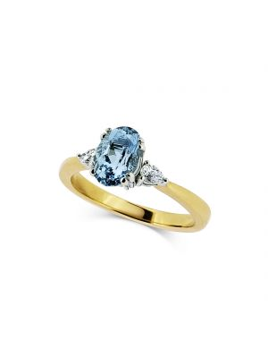 18ct yellow gold Oval Aquamarine with two pear diamonds on each side ring