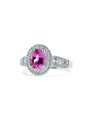 18ct white gold Oval pink sapphire and double halo & diamond shoulder set ring