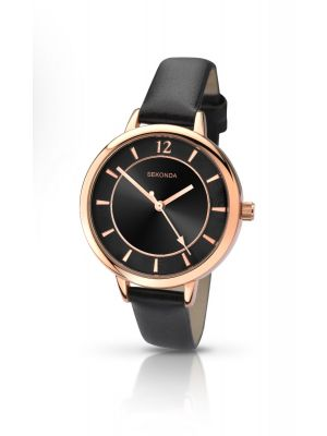 Sekonda Roseplate watch with black leather strap