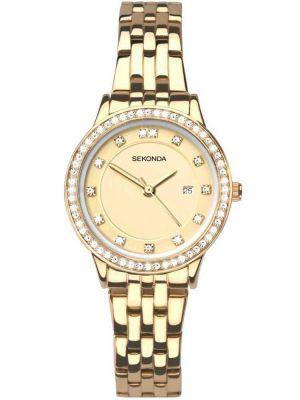 Sekonda Ladies gold plated stone set dress watch