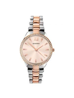 Sekonda Women's Silver/Rose Gold with Crystal Bracelet Strap Watch