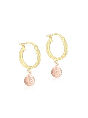 9ct Yellow and Rose Gold Diamond Cut Hoop and Ball Earring
