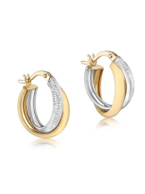 9ct Two Tone Diamond Cut Crossover Creole Hoop Earrings