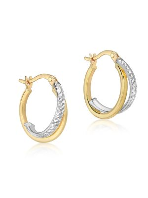 9ct Yellow and White Gold Diamond Cut Thin Creole Earrings