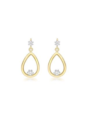 9ct yellow and white gold cz pear drop earring