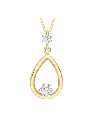 9ct White and Yellow Gold CZ Pear Shaped Pendant