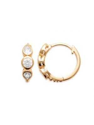 18ct Yellow Gold Microplated Pear & Round CZ Earrings