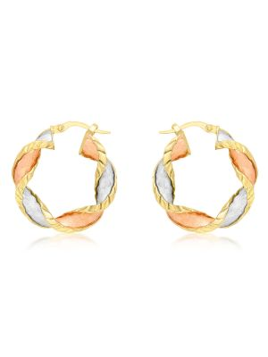 9ct Yellow, White and Rose Gold Twist Creole Earrings