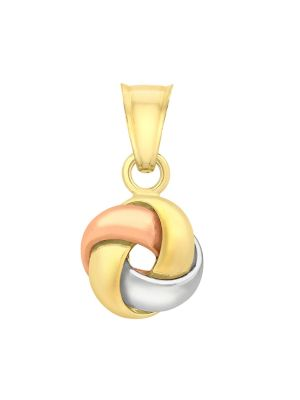 9ct Yellow, White and Rose Gold Four Way Knot Pendant