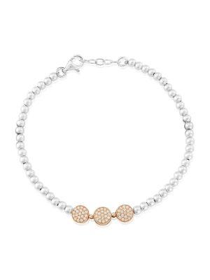 Sterling silver and roseplate cz bracelet