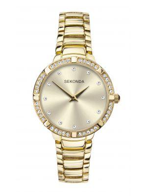 Sekonda Women's Gold Plated Stone Set Bracelet Watch