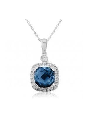 9ct White Gold Diamond and Blue Topaz Pendant