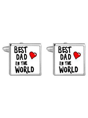 Stainless Steel 'Best Dad' Cufflinks