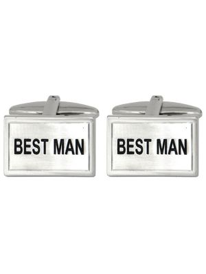 Stainless Steel 'Best Man' Cuff Links