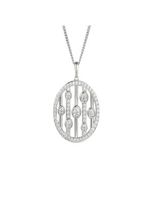 Sterling silver circular cubic zirconia disk and chain