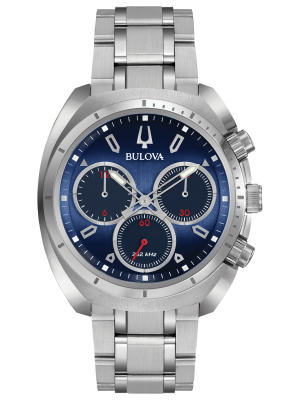 Gents Buluva Curv Classic Chronograph watch with blue dial