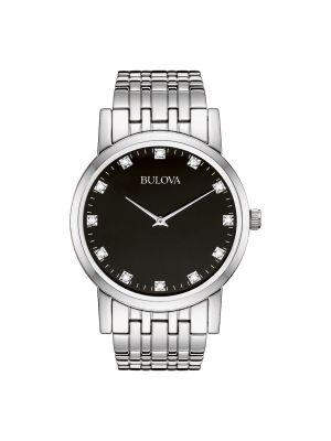 Gents Bulova steel watch with black dial