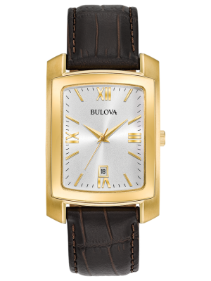 Gents Classic gold plated and brown leather strap watch