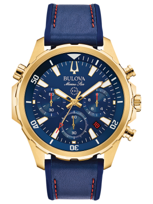 Gents Marine star Bulova leather  strap chronograph watch