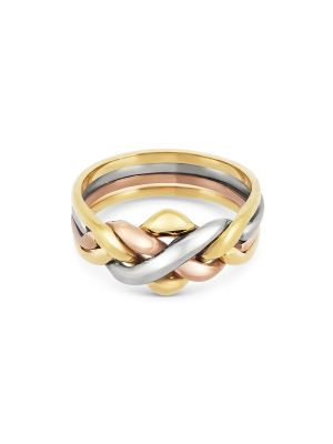 9ct Yellow, Rose & White Gold Gent's Puzzle Ring