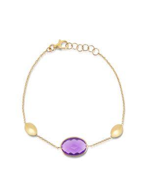 9ct yellow gold amethyst bracelet