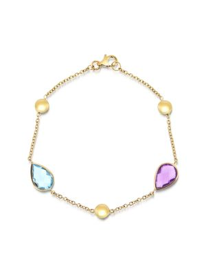 9ct yellow gold topaz and amethyst link bracelet