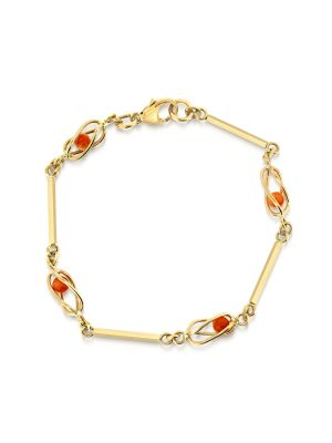 9ct yellow gold coral bead bracelet