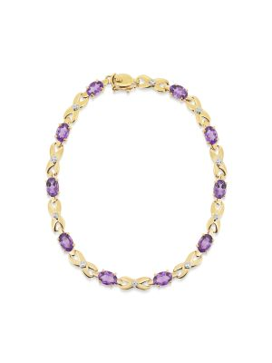 9ct yellow gold amethyst link bracelet
